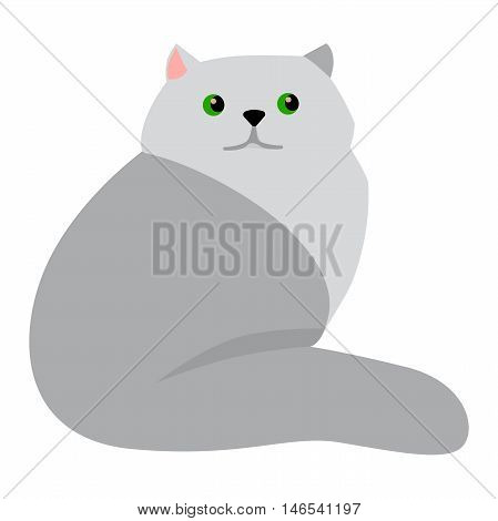 Persian cat cartoon style vector silhouette. Cute domestic cat animal sitting. Cartoon persian cat young adorable tail symbol playful. Cartoon funny domestic pussy kitty persian cat sit character