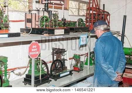 BLOEMFONTEIN SOUTH AFRICA SEPTEMBER 10 2016: Fully working steam driven machines at the site of the Bloemfontein Society of Model Engineers at Modenso Park.