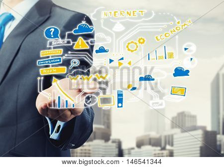 Close view of businessman presenting in palm plan for successful business