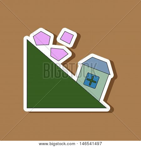 paper sticker on stylish background of Mountain stones fall