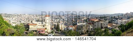 A panorama of the city of Nazareth.