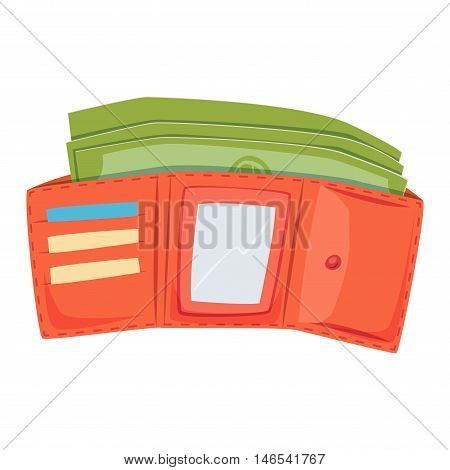 Purse leather open wallet with money shopping. Shopping buy change business currency leather purse wallet. Financial one payment bag accessory object purse trendy wallet vector.