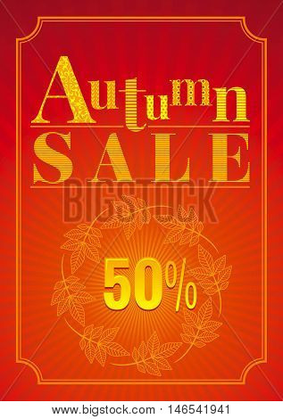 Vector illustration of abstract autumn background in modern elegant style for autumn sale design. Sunny color, falling leaves pattern.