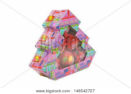 Christmas toys in a box on a white background