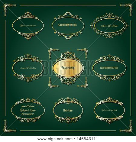 Vintage golden oval frames and borders set. Luxury design.