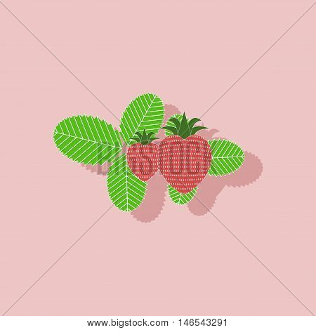 paper sticker on stylish background of plant Fragaria