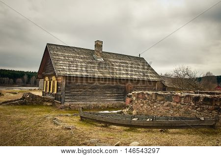 An Old Wooden House in the Village