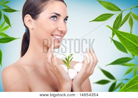 Beautiful Natural Woman, Spa Concept, Green Plant
