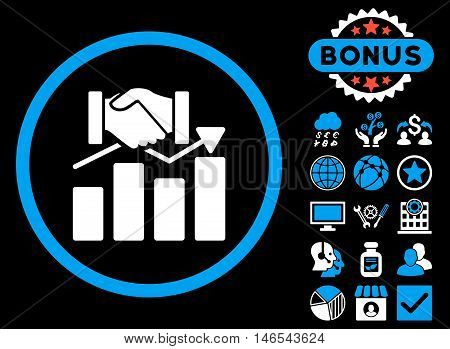 Acquisition Graph icon with bonus. Vector illustration style is flat iconic bicolor symbols, blue and white colors, black background.