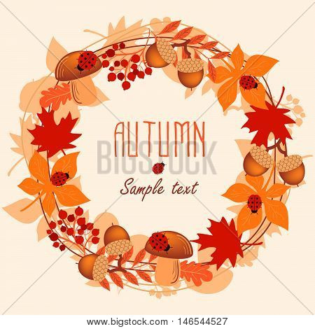 Round frame of autumn leaves. Autumn, leaves, wreath.  Vector illustration