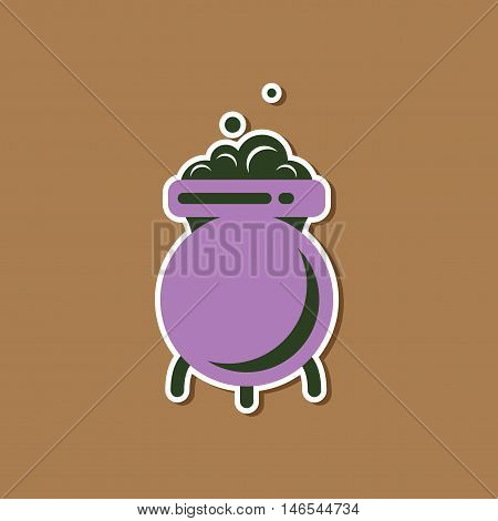 paper sticker on stylish background of cauldron witches potion