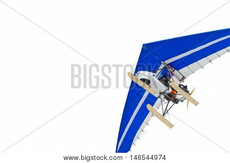 The motorized hang glider. Air sports. Isolated