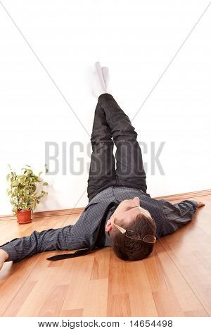 Businessman With His Legs Up