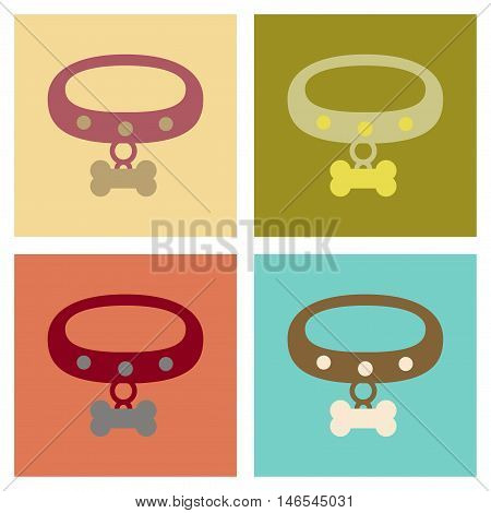 assembly of flat icons accessory dog collar