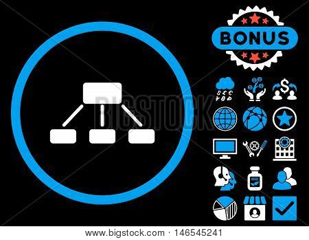 Hierarchy icon with bonus. Vector illustration style is flat iconic bicolor symbols, blue and white colors, black background.