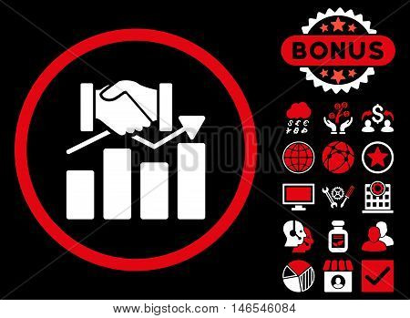 Acquisition Graph icon with bonus. Vector illustration style is flat iconic bicolor symbols, red and white colors, black background.