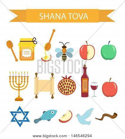 Set icons on the Jewish New Year Rosh Hashanah Shana Tova. Cartoon icons flat style. Traditional symbols of Jewish culture. Vector illustration.