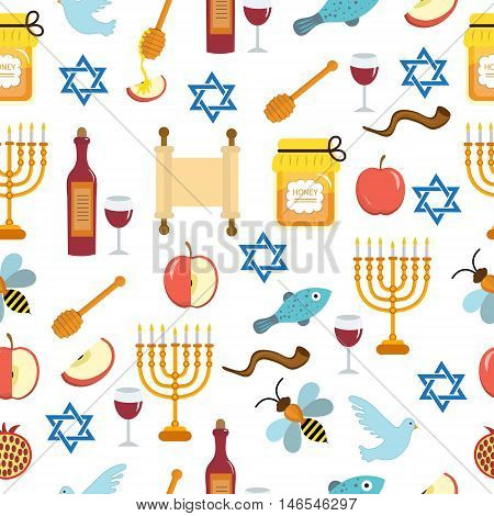 Seamless pattern texture for the Jewish new year. Rosh Hashanah Shana Tova background wallpaper. Vector illustration.