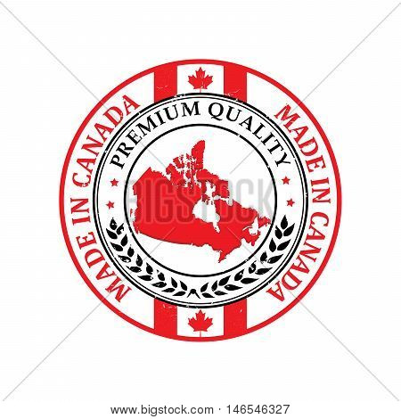 Made in Canada, Premium Quality - grunge label containing the flag colors of Canada. Print colors used