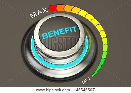 high level benefit concept 3D rendering, knob
