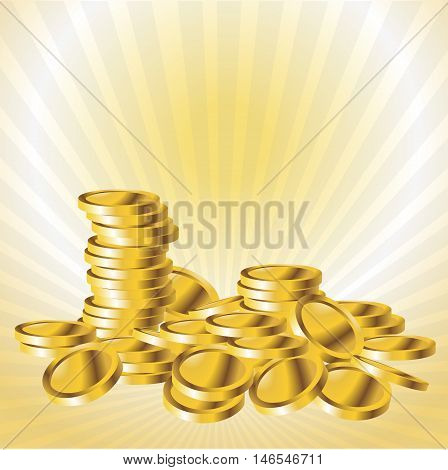 Stack of gold coin vector illustration. Coin money, Golden coins to investment