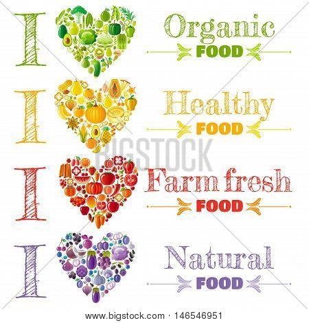 Organic food banner set template, heart icons. Fruit vegetable vector illustration. Fruits - peach, pear, lemon, apple, mango, kiwi, lime. Vegetables - corn, chili, peas, soybean. Herbs - mint, basil
