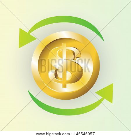 Money, coin, and gold Turnover icon. Vector style is bicolor flat iconic symbol with rounded angles.