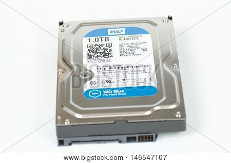 SARANSK, RUSSIA - SEPTEMBER 10, 2016: Western Digital HDD on white background closeup. Selective focus.