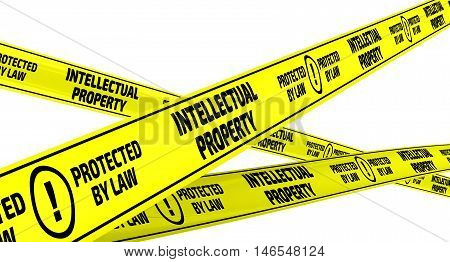 Intellectual property. Yellow warning tapes. Yellow warning tapes with inscription
