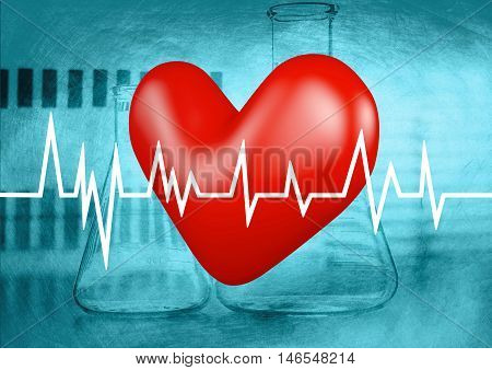 heart on electrocardiogram examination graph, 3D illustration