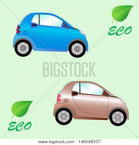 Vector illustration of a set of environmentally friendly electric cars on a light background