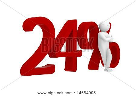 3D Human Leans Against A Red 24%