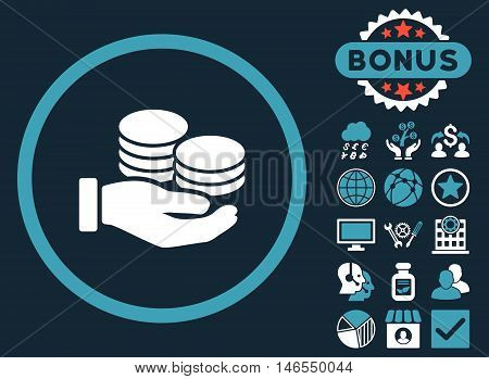 Salary Coins icon with bonus. Vector illustration style is flat iconic bicolor symbols, blue and white colors, dark blue background.