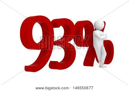 3D Human Leans Against A Red 93%