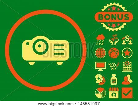 Projector icon with bonus. Vector illustration style is flat iconic bicolor symbols, orange and yellow colors, green background.