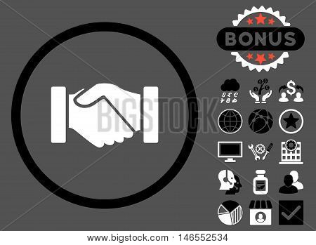 Acquisition Handshake icon with bonus. Vector illustration style is flat iconic bicolor symbols, black and white colors, gray background.