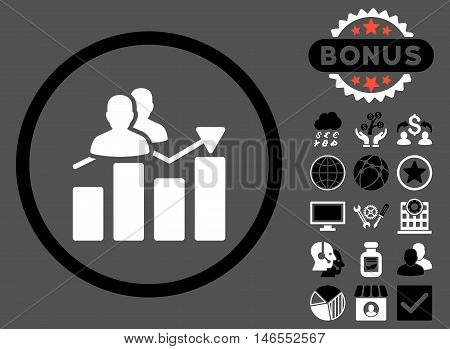 Audience Graph icon with bonus. Vector illustration style is flat iconic bicolor symbols, black and white colors, gray background.