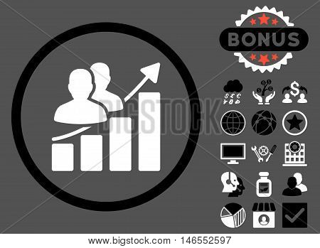 Audience Growth Chart icon with bonus. Vector illustration style is flat iconic bicolor symbols, black and white colors, gray background.