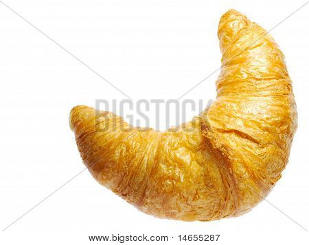 Golden Croissant Isolated On White Background
