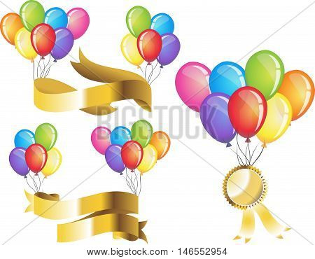 Colorful balloons festive with gold ribbon text bar template set vector illustration. Balloons beautiful toy party day celebrate, isolated helium color carnival tool. Clip art and icon birthday balloon