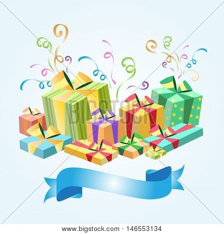 Set of gifts boxes design flat. Gift box present, ribbon and gift box vector, isolated, holiday christmas, surprise for anniversary or birthday or xmas illustration