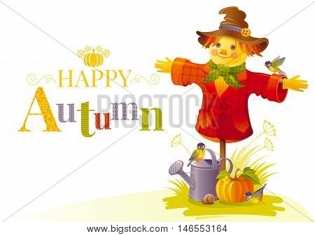 Autumn scarecrow vector illustration on white background with gardening elements - beautiful fall pumpkin vegetable, watering can, tit birds, snail. Seasonal natural concept template, text lettering