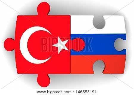 Cooperation between Russia and Turkey. Puzzles with flags of the Russian Federation and Turkey on a white surface. The concept of coincidence of interests in geopolitics. Isolated. 3D Illustration