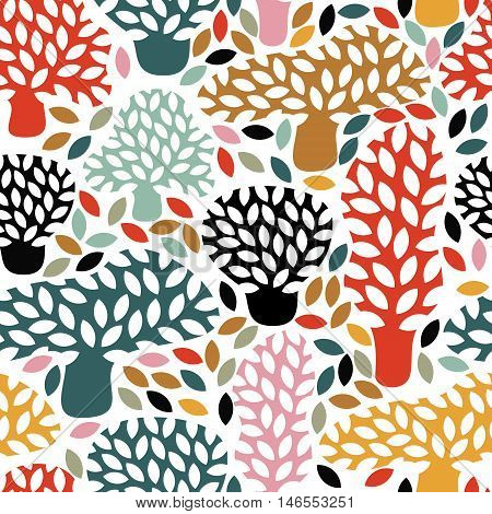 Vector Multicolor Seamless Pattern With Hand Drawn Doodle Trees.