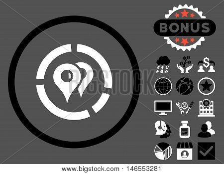 Geo Diagram icon with bonus. Vector illustration style is flat iconic bicolor symbols, black and white colors, gray background.