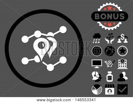 Geo Trends icon with bonus. Vector illustration style is flat iconic bicolor symbols, black and white colors, gray background.