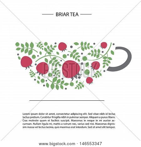 image of rosehip and leaves in the form of a cup of tea. card or poster template