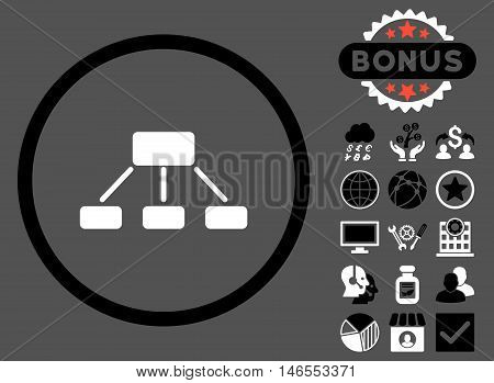 Hierarchy icon with bonus. Vector illustration style is flat iconic bicolor symbols, black and white colors, gray background.