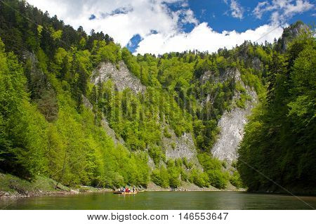 Rafting on the Dunajec river in Pieniny National Park in Slovakia and Poland.