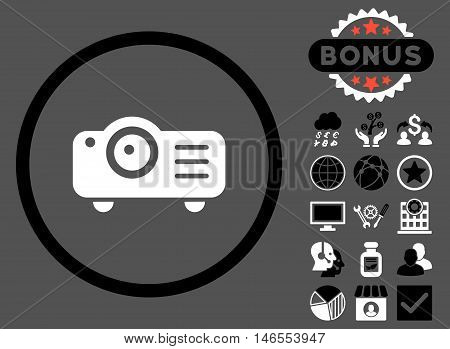 Projector icon with bonus. Vector illustration style is flat iconic bicolor symbols, black and white colors, gray background.